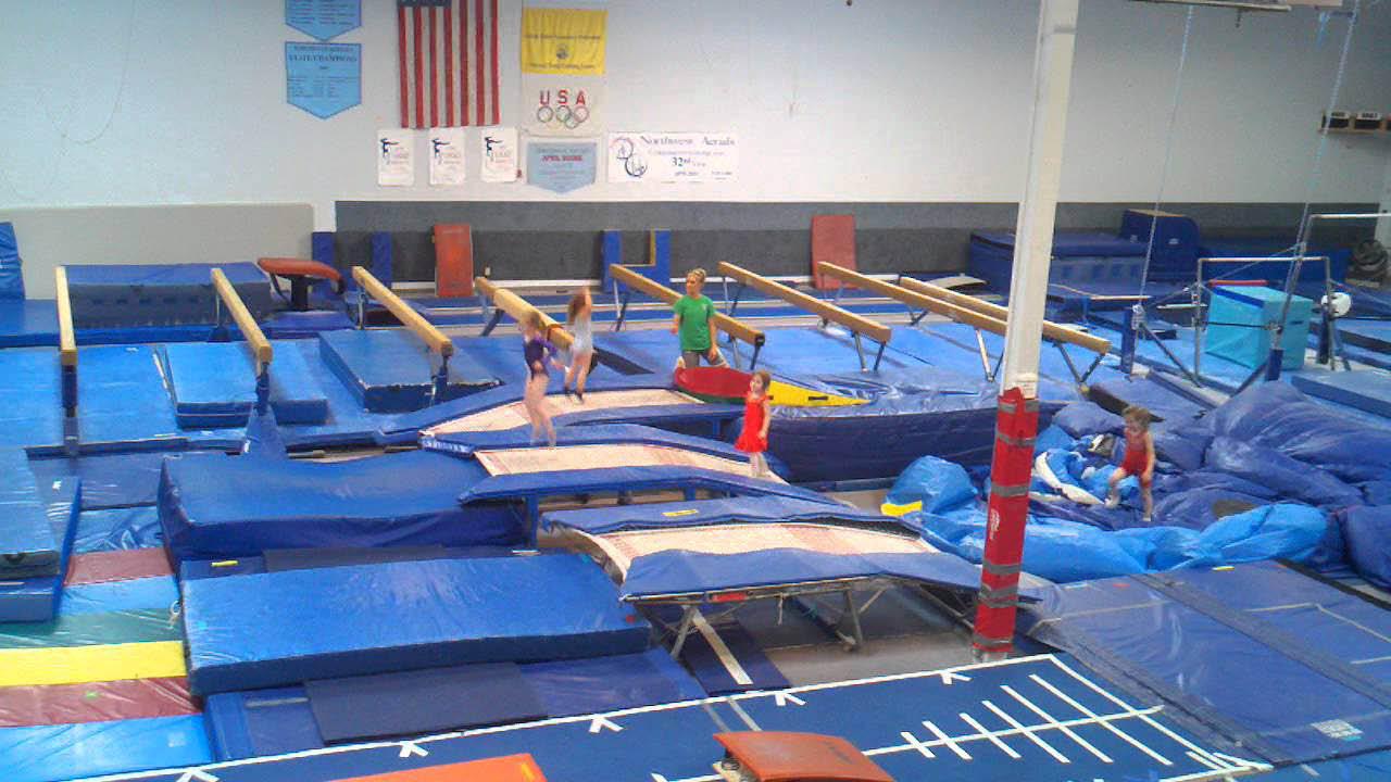 Inside Northwest Aerials in Kirkland, WA - trampolines - gymnastics instruction and coaching - dance classes