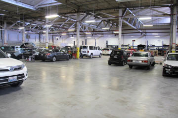 Inside the auto body shop at Seattle Automotive in Seattle, WA - auto body repair - auto collision repair
