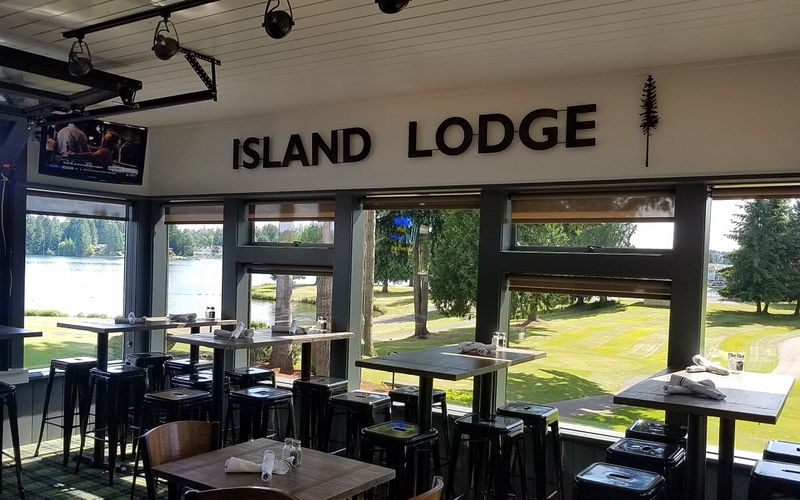Inside Island Lodge by Al Lago - Lake Tapps restaurants - dining in Lake Tapps, WA - in the Tapps Island Clubhouse - great views - dining coupons near me