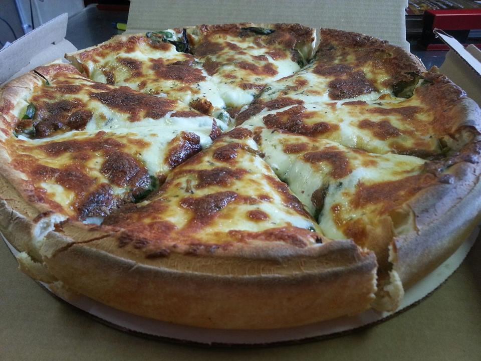 Stuffed pizza at Italian Villa pizza.