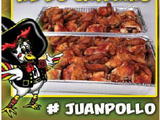 Eat Juan Pollo chicken with beans, potato salad and rice