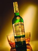 Jameson liquor bottle and glasses