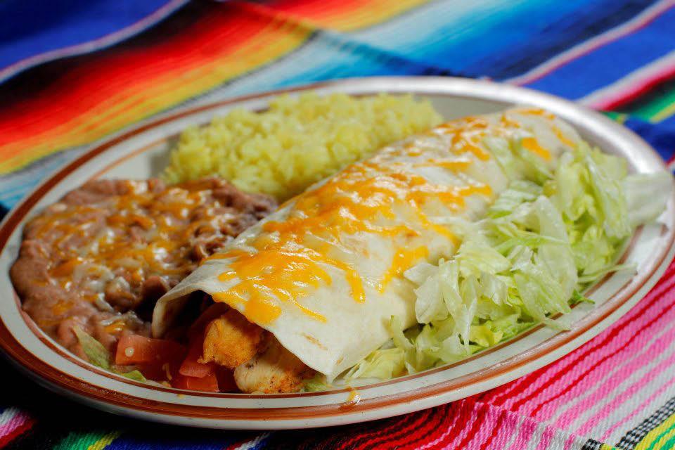Javier's grilled chicken burrito