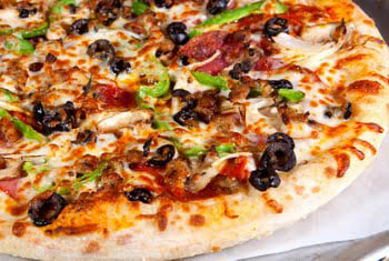 Italian pizza loaded with meats, cheeses and fresh veggie toppings