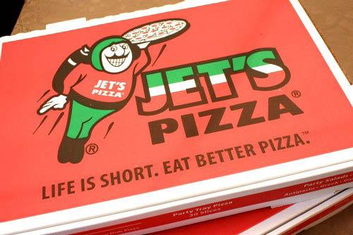 Jets pizza box - life is short eat better pizza logo