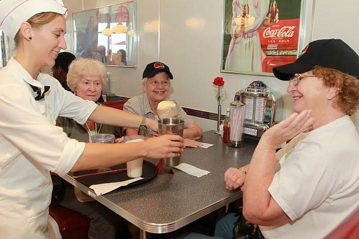 The staff at Johnny Rockets in Manhattan Beach, CA