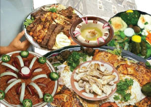 multi plate Mediterranean food from K & M Shish Palace in Dearborn, MI