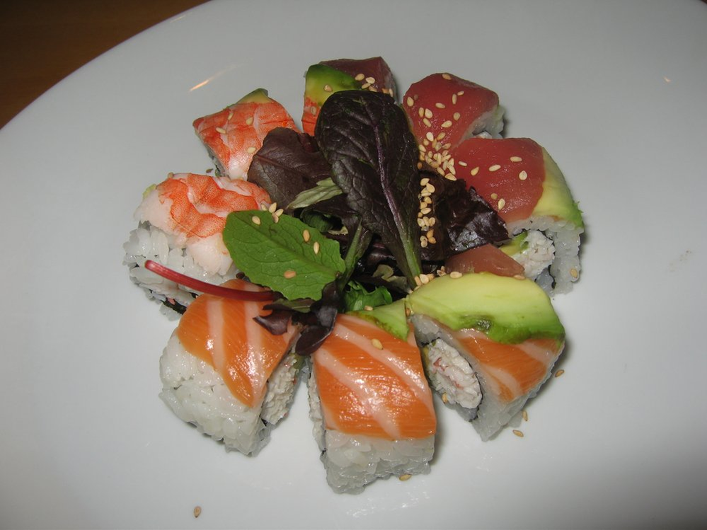 California sushi rainbow roll at Kampai Sushi House Los Alamitos