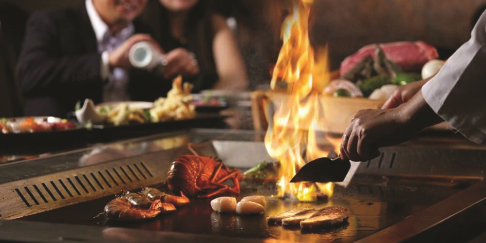 Hibachi-style cooking at Kawa Japanese Steak House & Sushi
