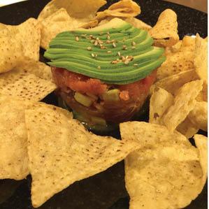 Poke nachos with avocado near Panorama City