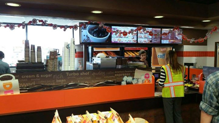 Picture of the inside of Dunkin Donuts located at the Kenosha Shell Gas Station on I-94 near Trevor, WI