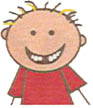 cartoon of smiling kid with a missing tooth; children's dentist in Chicagoland; Kids First Pediatric Dentistry