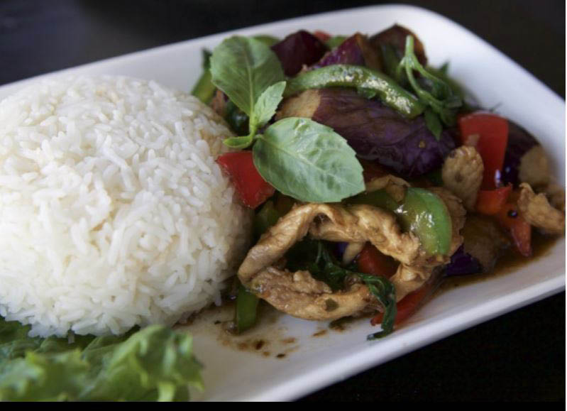chicken larb salad; steamed rice; red curry