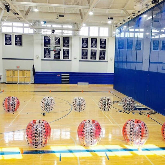 Play knockerball in the gym or outside in parks. Anywhere you would hold a group event.