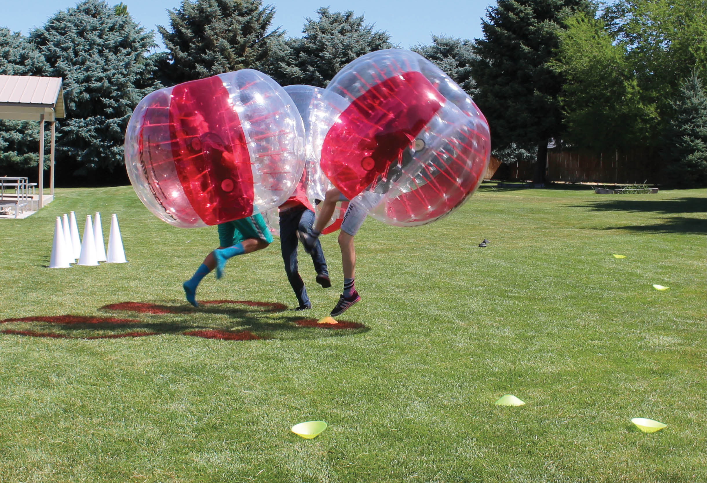 With a knockerball you can hit your opponent and neither of you will get hurt.
