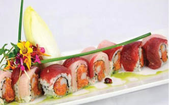 Raw Fish Sushi With Salmon, Roe & Yellow Tail.