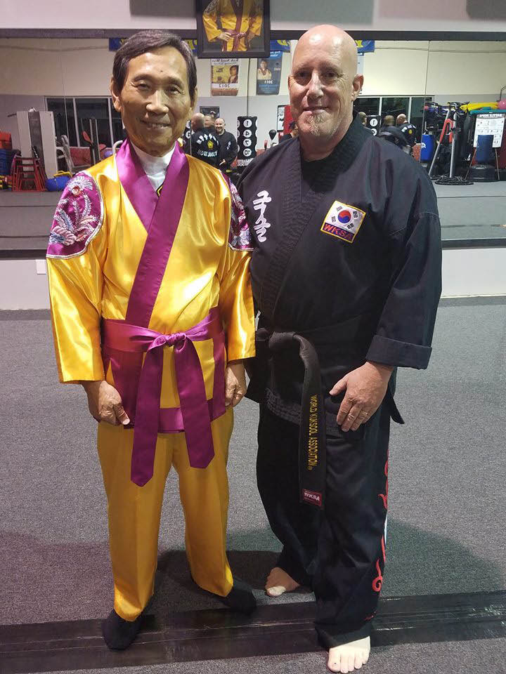 Founder and Grandmaster In Hyuk Suh with Sa Bum Nim (Assistant Master) Jeremy Taylor at Kuk Sool Won in Sonoma County.