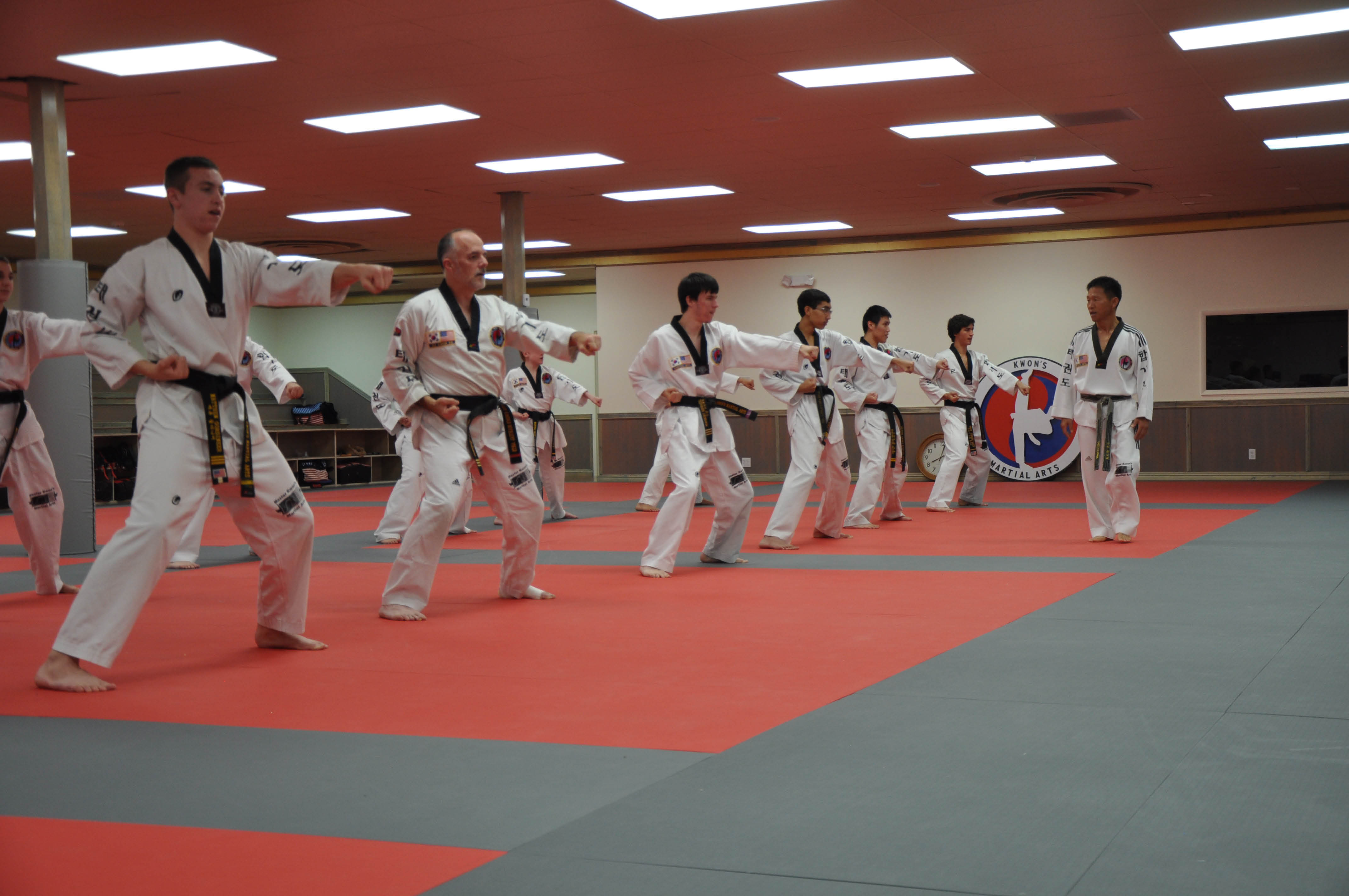 Adults learning martial arts