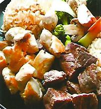 Beef, chicken & rice at Kylin