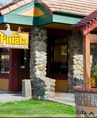 Exterior of La Pinata Restaurant in Novato, CA; burritos; nachos; shrimp; margaritas