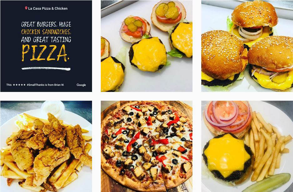 Image of burgers, French fries, pizza and more