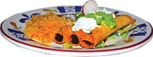 Taquitos Plate from La Hacienda Mexican Restaurant Morgan Hill and Gilroy, CA