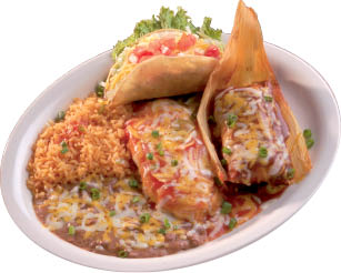 Mexican tamales with rice and refried beans at La Casita restaurant