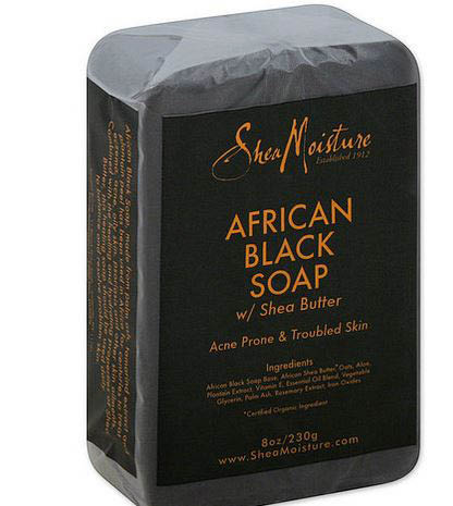 SheaMoisture African Black Soap Bar with Shea Butter is made with organic ingredients such as palm ash, tamarind extract and plantain peel. Soap is meant to help with acne prone and troubled skin. Use daily to heal, balance and resolve your skin.