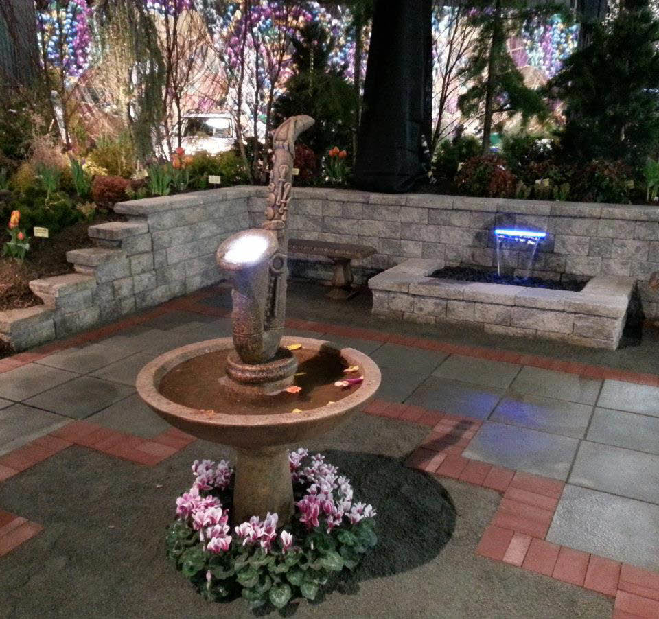 Backyard Landscape Design with a trumphet water fountain, Mardi Gras style by Amato's Garden in South Brunswick, NJ