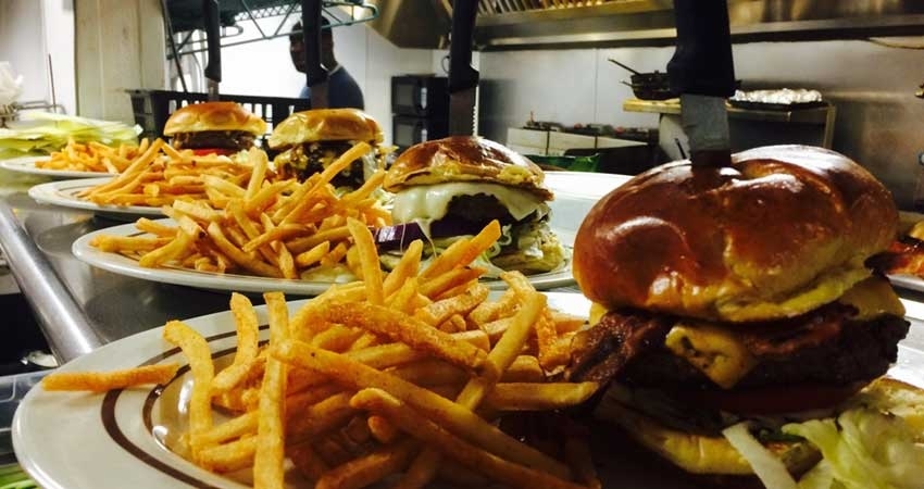 burgers and fries from Legends Tavern and Grille in Deerfield Beach; bar and grills South Florida