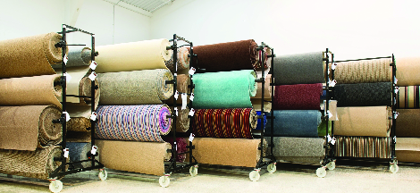 photo of rolls of carpet at Leon's Flooring Outlet in Livonia, MI