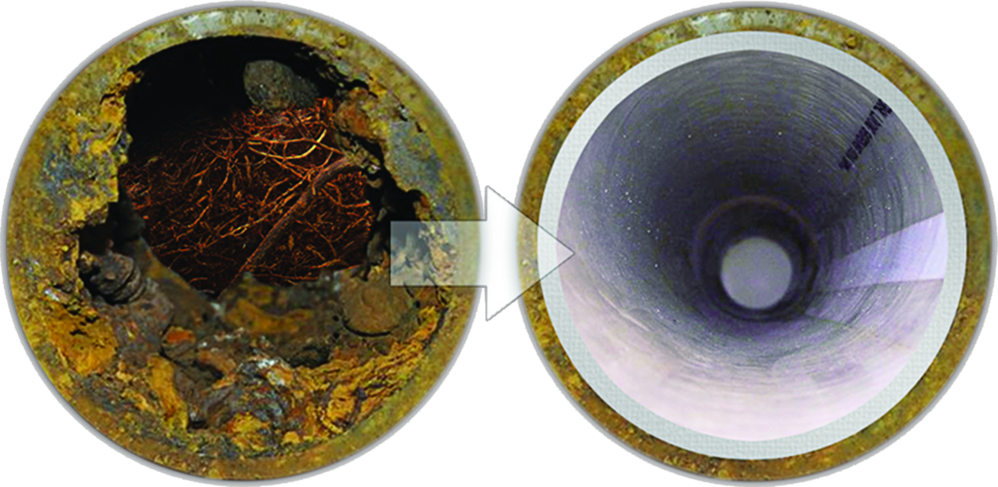 before & after main drain cleaning