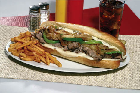 Steak & Cheese, Sub, Hot Sub, French Fries, Sandwich, Steak, Cheese, Lettuce, Peppers, Little Italy