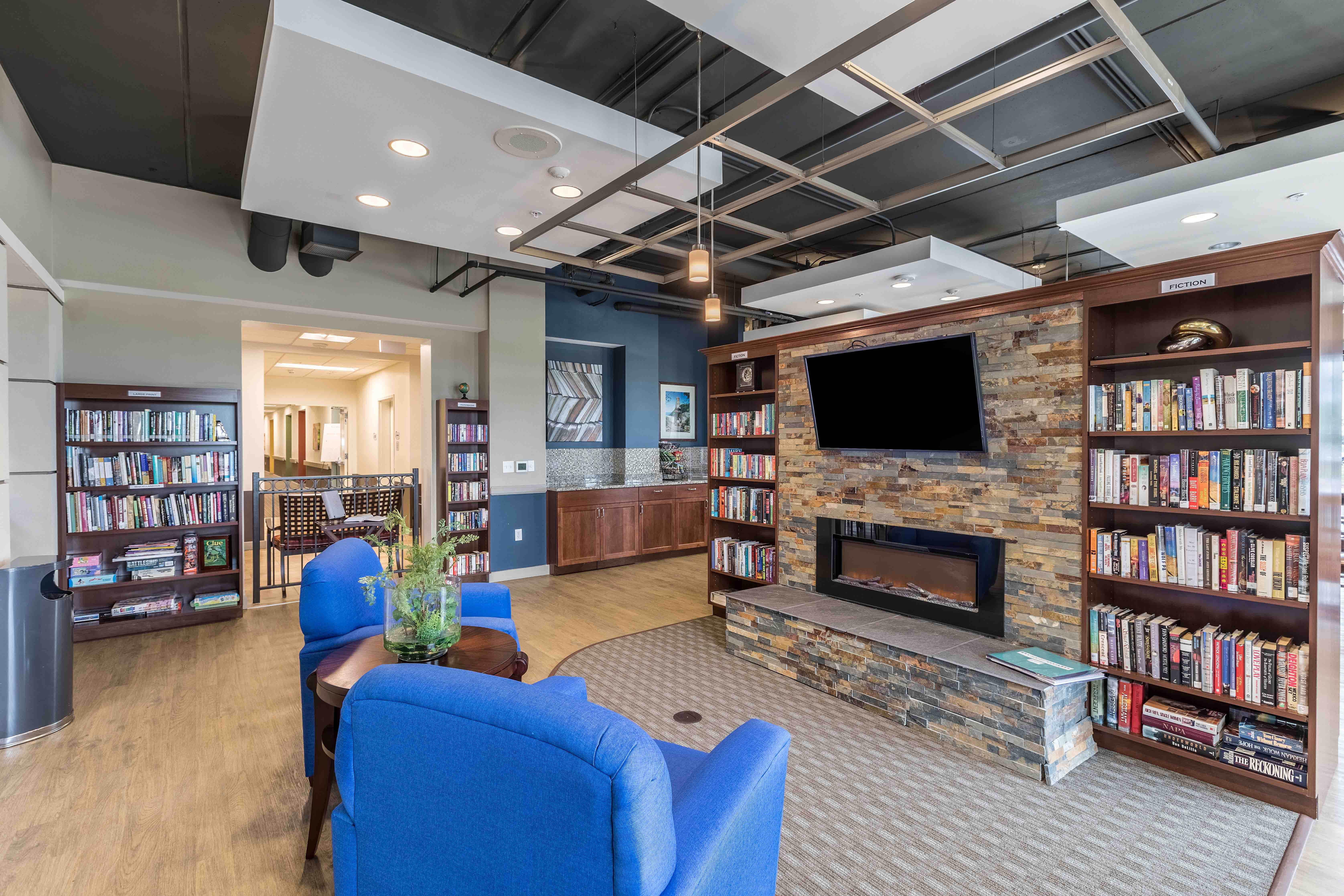 senior apartment home living lobby area