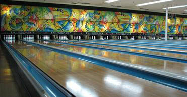 Inside Logan Lanes bowling alley
