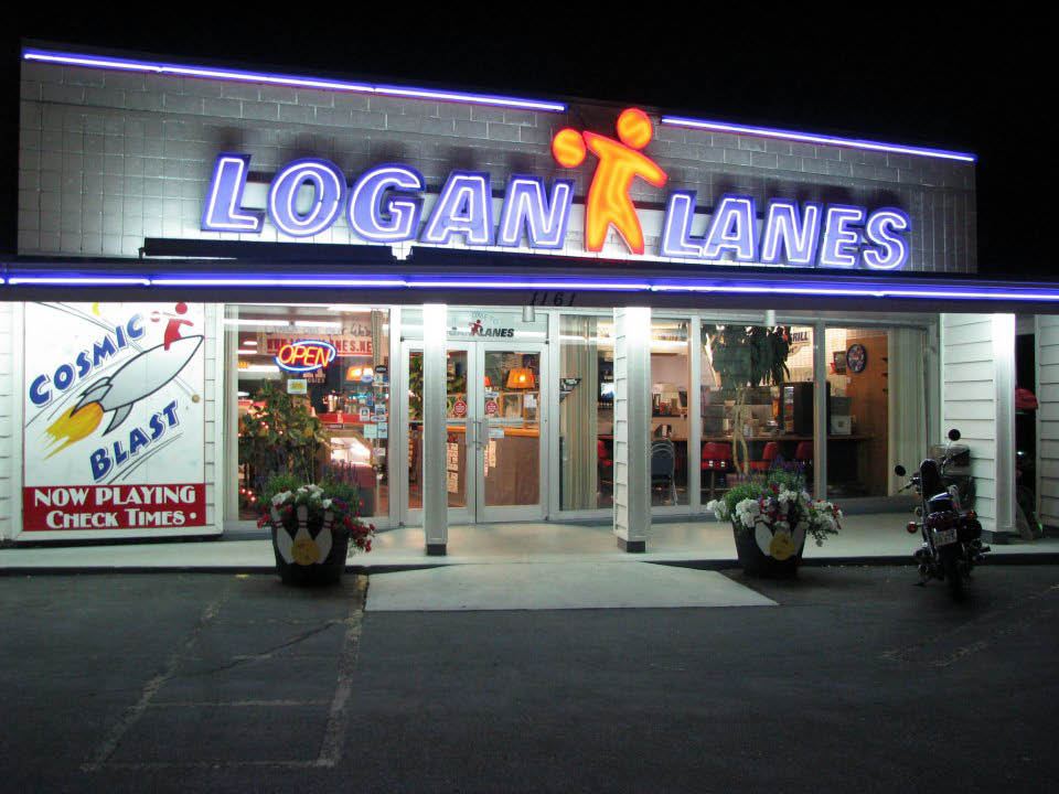 Outside of Logan Lanes bowling alley