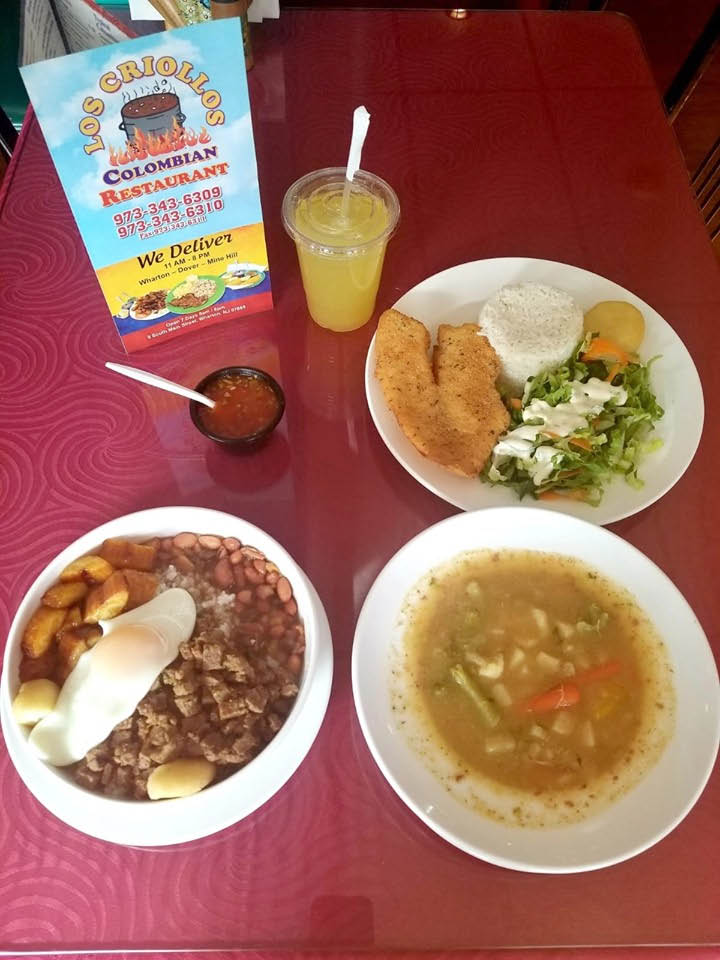 Many Colombian choose from at Los Criollos Colombian Restaurant in Wharton NJ