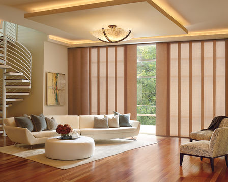Skyline Gliding Window Panels offer a sleek, up-to-date design lends drama to any decor