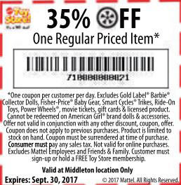 35% Off One Regular Priced Item Coupon - Mattel Toy Store