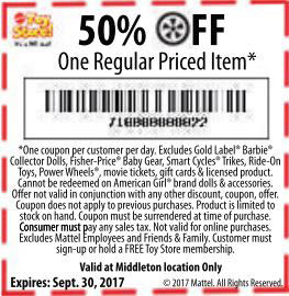 Mattel Toy Store 35% Off Coupon On One Regular Priced Item