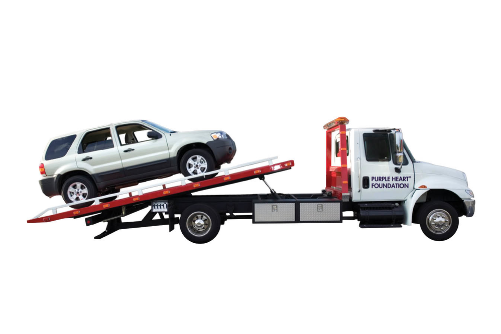 A towing service will help deliver your donation to Purple Heart Service Foundation