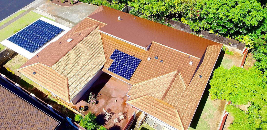 Residence with solar panels on new roof