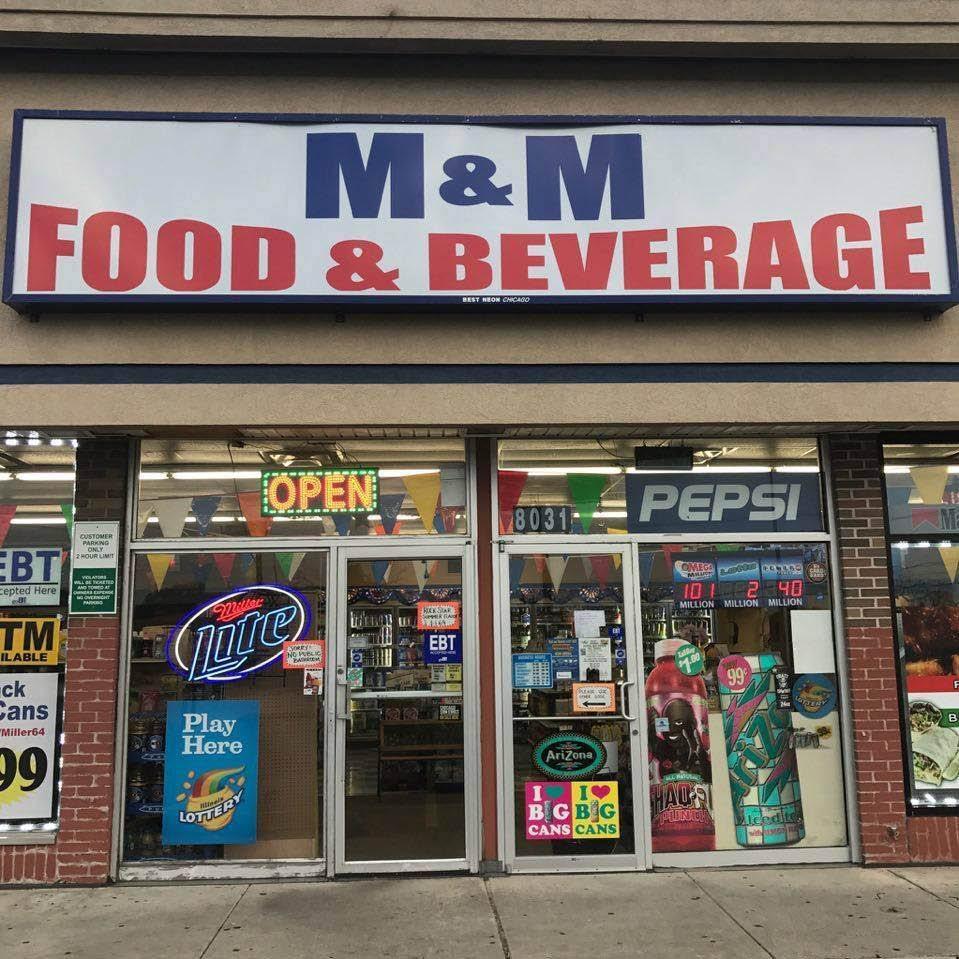 Storefront of M&M Food & Beverage.