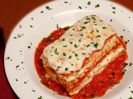 Plate of Lasagna served at Maciano's of Shorewood.
