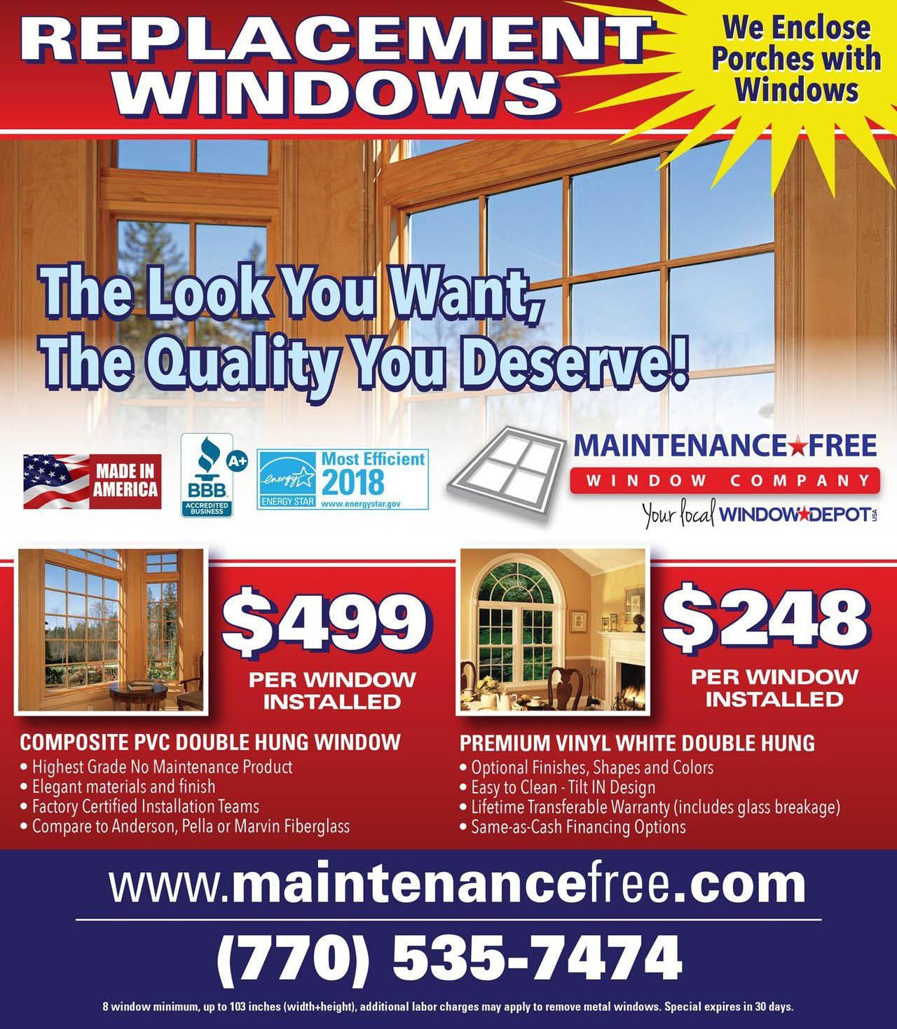 Maintenance Free Window Company specials for the Atlanta area