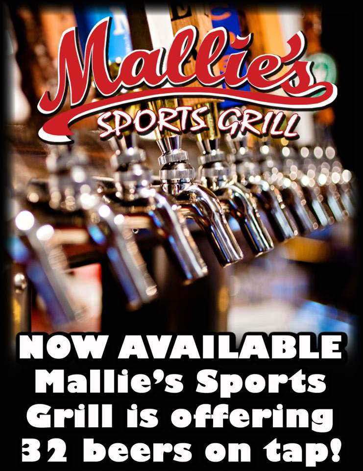 poster of 32 beers at Mallie's Sports Grill in Southgate, MI