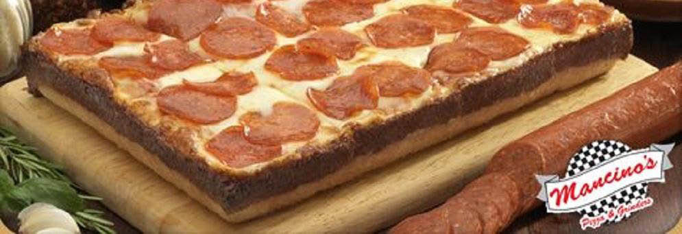 photo of deep dish pepperoni pizza from Mancino's Pizza & Grinders in Brighton, MI