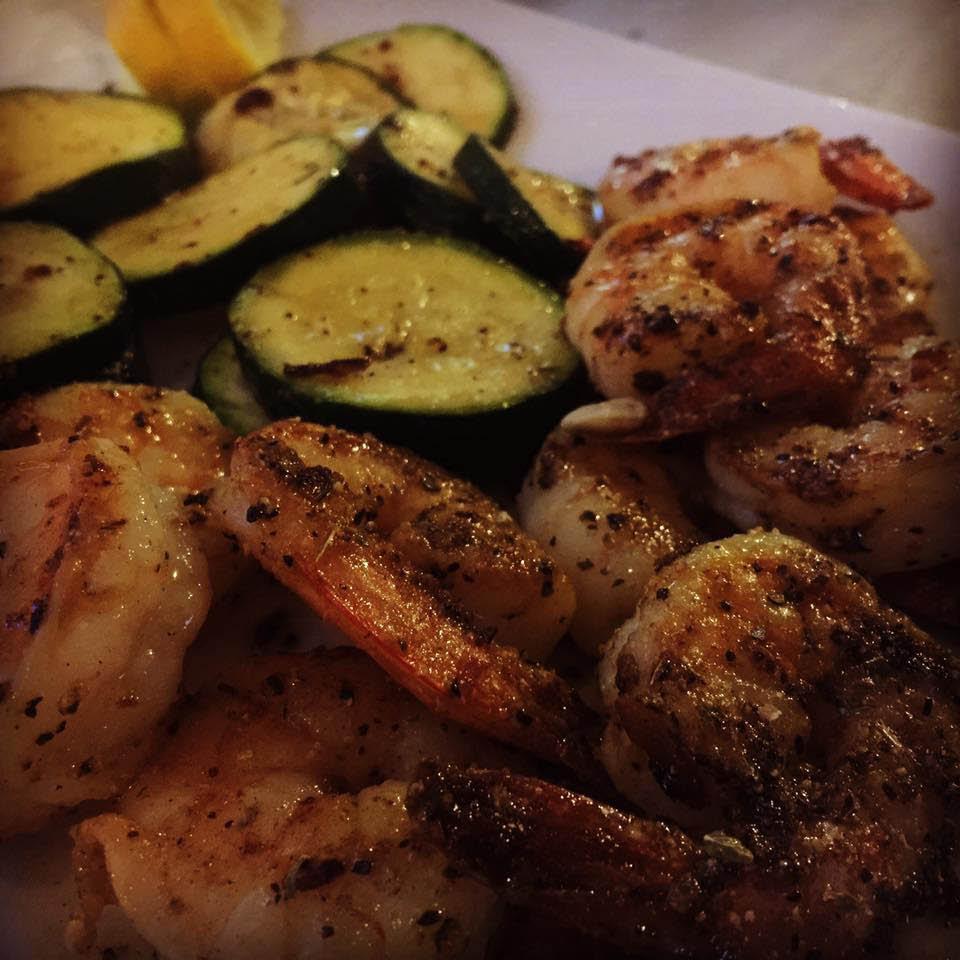 Blackened shrimp and zucchini near Ashley, SC