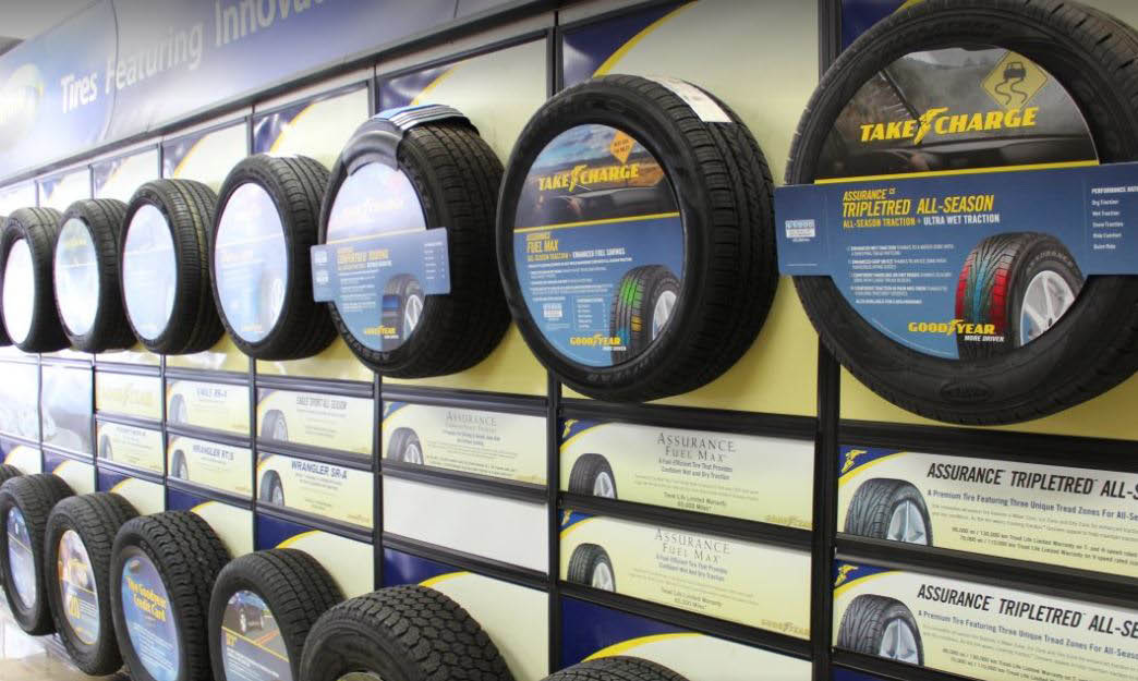 photo of new tires displayed at March Tire Co,. in Plymouth, MI