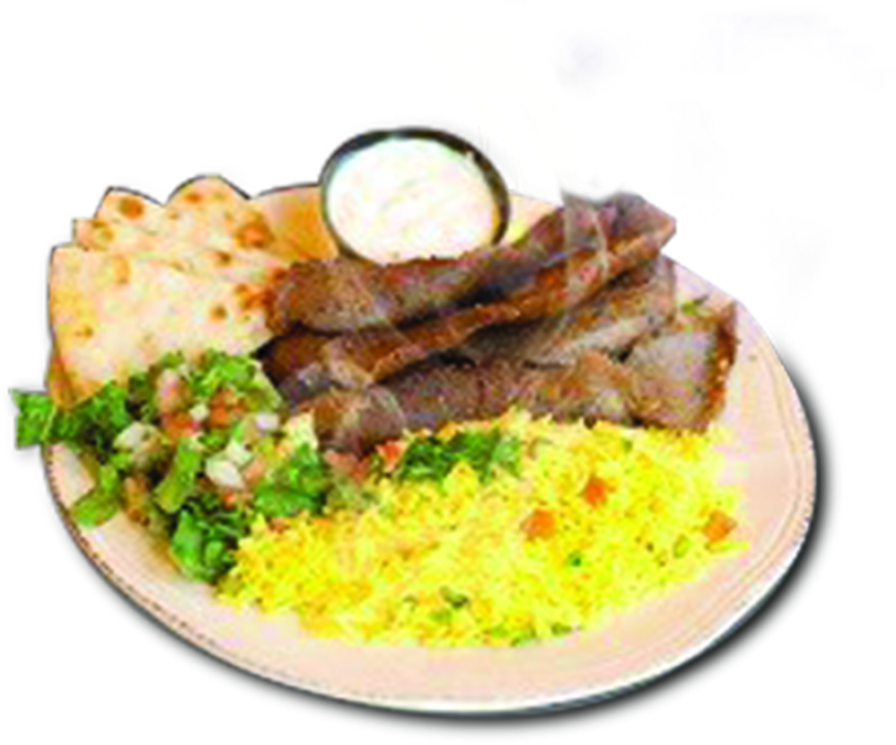 Gyro platter with rice salad and pita bread
